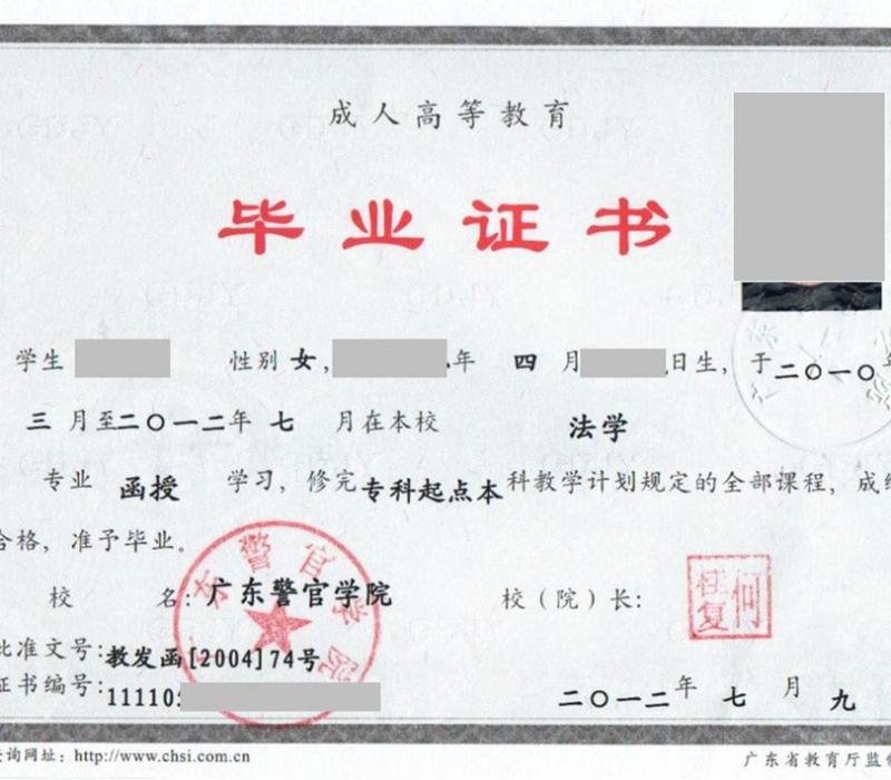 广东警官学院毕业证