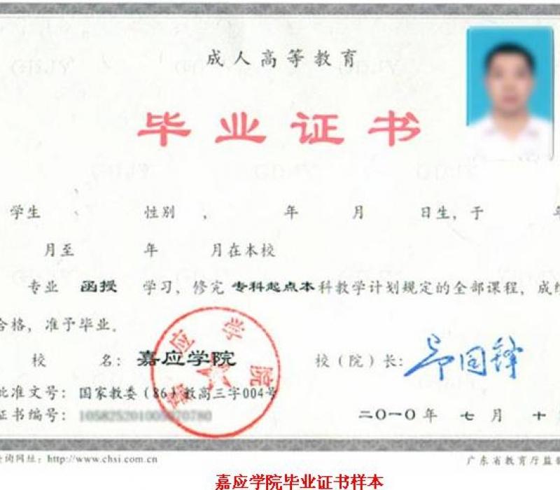 嘉应学院毕业证