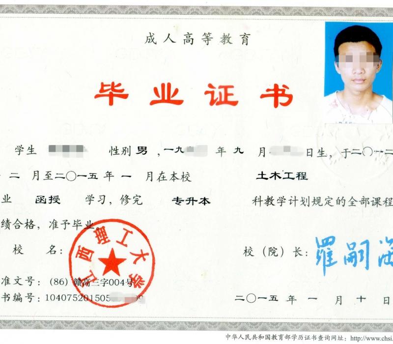 2015年江西理工大学成教专升本科毕业证